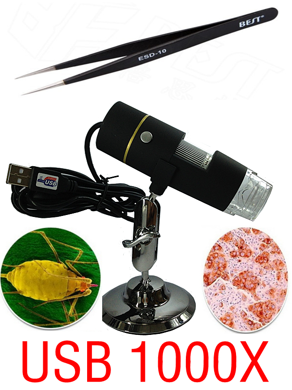 Portable Digital USB microscope 1000X 50 X ~ 1000X In-built White Light 8pcs LED magnifier+1 pcs Tweezers(China (Mainland))
