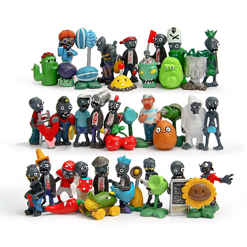 Hot Classic toys full set 40 pieces plants vs zombies game play 2 PVC Action Figure toys for children gift Free shipping(China (Mainland))