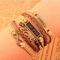LOVE dream 8 word Vintage faith fashion beautiful hand woven leather rope multilayer Bracelet S4005