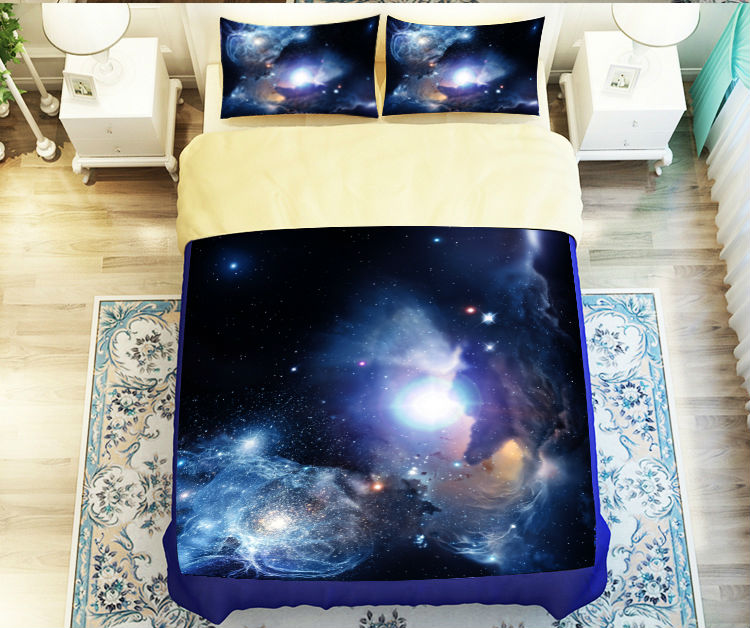 Beautiful Starry Sky Galaxy Outer Space Bedding Set Twin Queen King Size Bed Sheet Duvet Cover Set Unique Nebula Galaxy Themed(China (Mainland))