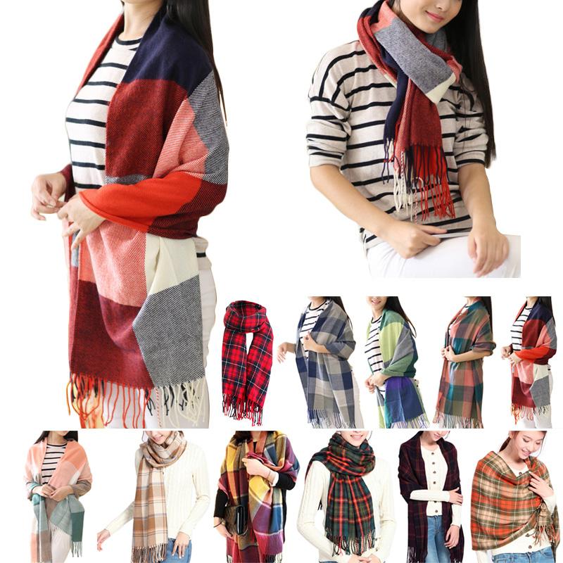 2016 Women Fashionable Winter Warm Plaid Scarf Ladies Long Wrap Shawl font b Tartan b font