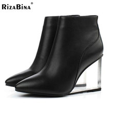 Buy RizaBina womens shoes transparent wedges high heels ankle boots pointed toe high heels boots winter black shoes woman size33-41 for $65.78 in AliExpress store