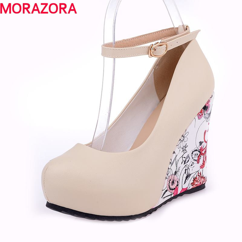 Fashion Ankle Strap 2016 High Wedges Platform Summer Pumps For Women Casual Dress Elegant Flower Print Wedges Shoes woman(China (Mainland))