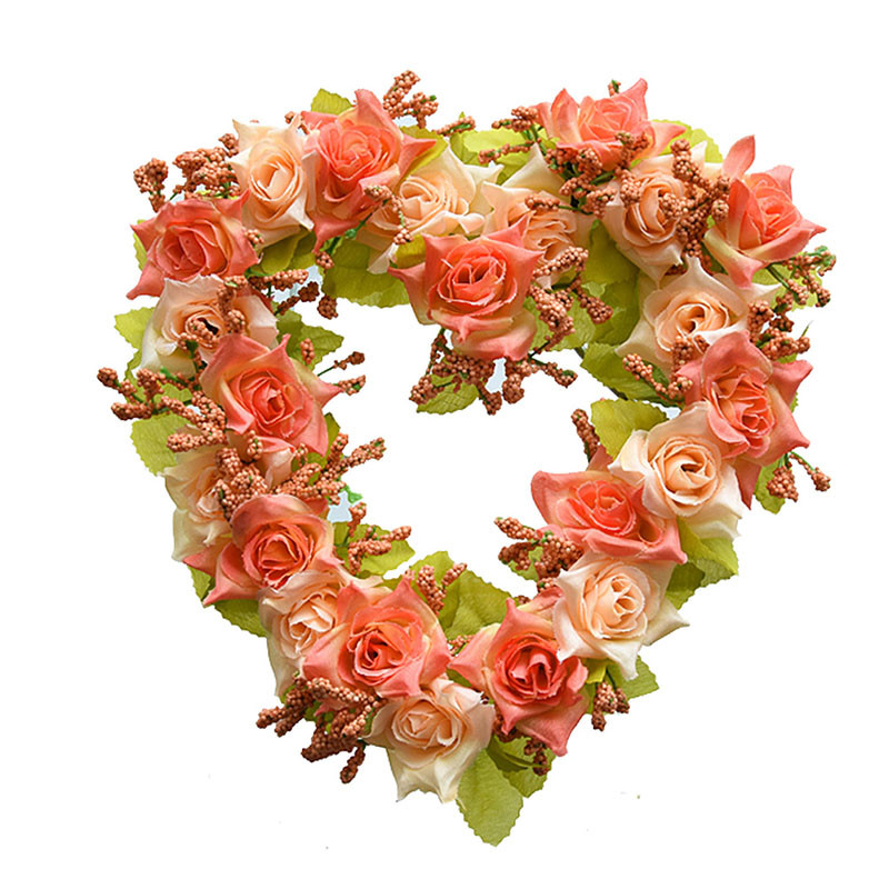Heart Shaped Artificial Flower Wreath Door Decoration Hanging Wreaths Flowers Garland with Silk Ribbon for Home Door Decoration (3)