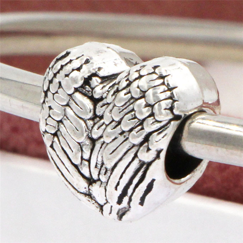 Free Shipping Sliver Bead Charm Wings Of Love Accessories Beads Fit Pandora Bracelets & Bangles DIY Jewelry SPB140(China (Mainland))