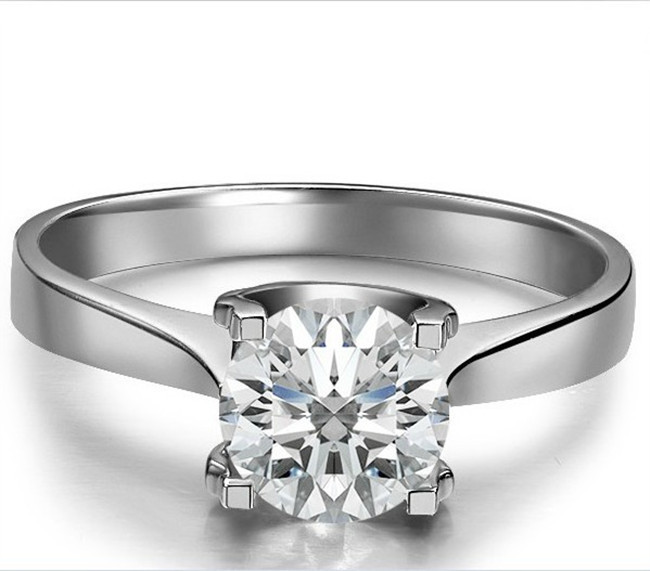 1 CT Love Declarations Oxhead SONA Synthetic Diamond Engagement Ring Sterling Silver 18K White Gold Plated Claw Setting Jewelry(China (Mainland))