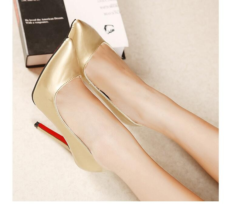 Fashion Sexy OL Dress Pumps Pointed Toe Canddy Color High Heels Pu Leather Shallow Thin Heeled Shoes
