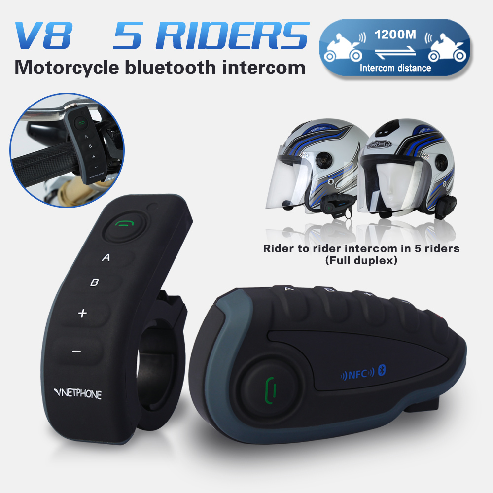 2016 New V8 BT Interphone with Remote Controller FM NFC 5 Riders Bluetooth Motorcycle Intercom 1200M Intercomunicador V8 motos(China (Mainland))