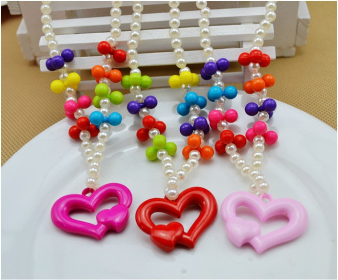 New Kids baby princess colorful heart beaded Necklace& Bracelet set /Jewelry Accessories set/Fashion gift(China (Mainland))