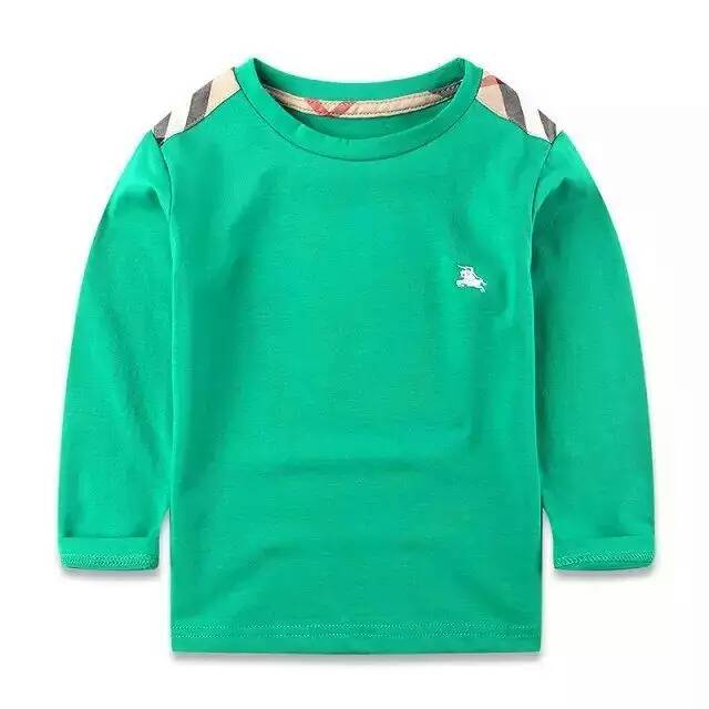 2016 New children baby T-shirt  boy Round collar lattice splicing long sleeve Primer shirt Blue and green red wholesale<br><br>Aliexpress
