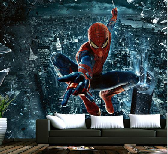 Spiderman 3d wallpaper murals boys bedroom wall paper for Boys mural wallpaper