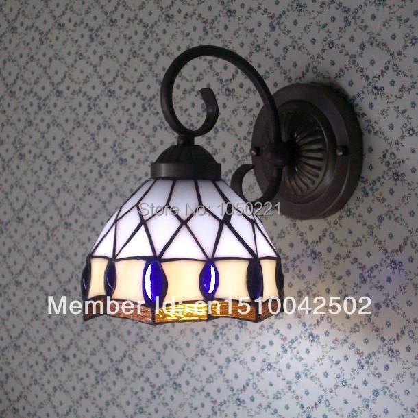 Tiffany Glass Wall Lamps Mediterranean Style mirror lamp  Study Lamps Corridor Light Bedroom Lamp DIA 16 H 24 CM<br><br>Aliexpress