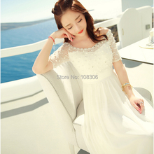 2015 Summer New Arrival Ladies dress white slit neckline beading lace chiffon one-piece dress bohemia Women dress beach dress(China (Mainland))
