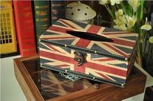 FREE SHIPPING Vintage Union Jack removable tissue box british style supplies paper handkerchief case napkin box(China (Mainland))