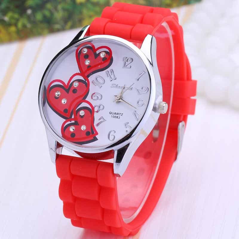 Гаджет  Heart Shape Silicone Cartoon-Watch Kids Watches Cartoon Geneva Watch Women Clock Kors Bayan Kol Saati Reloj Mujer Woman Watch None Часы