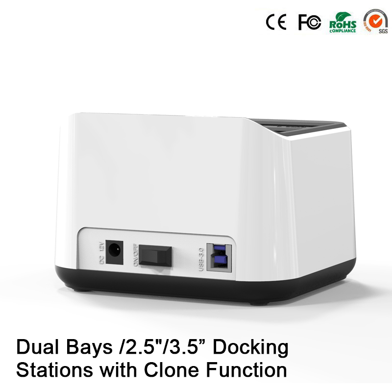 "2.5""3.5""hdd usb 3.0 clone function external 2.5 hard enclosure Sata case hd externo usb 3.0 double slots hdd box 2.5 usb 3.0(China (Mainland))"