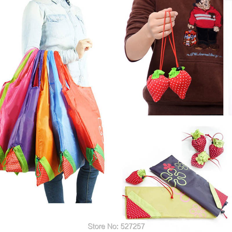 Reusable Eco Strawberry Storage Bag Handbag Foldable Shopping Bags Tote Cute New(China (Mainland))
