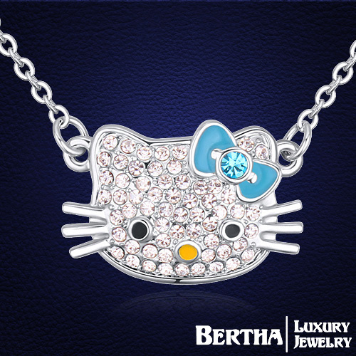 Hello Kitty Necklaces Made With Swarovski Elements Chain Necklaces Collier Femme Jewelry For Women Best Friends New Accessories(China (Mainland))