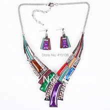 MS17812 Fashion Brand Jewelry Sets Silver Plated Leaser Pattern 5 Colors 2014 New Bridal Jewelry High Quality Party Gifts(China (Mainland))