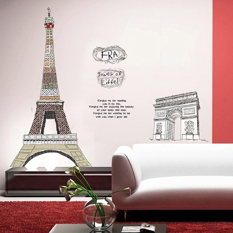 Paris eiffel tower living room decor large vinyl wall art decals bedroom 3d wallpaper150 108cm - Eiffel tower decor for bedroom ...