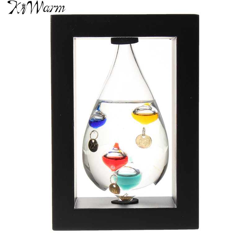 KiWarm Teardrop in Wood Frame Thermometer with Coloured Baubles Temperature Weather Forecast Ornaments for Home Bedroom Decor(China (Mainland))