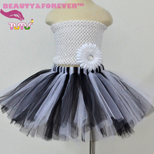Fluffy tulle kids tutu skirt black white tutu skirt for girls 1T-8T(China (Mainland))