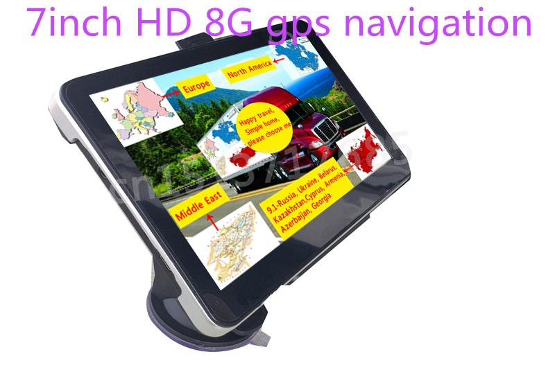 New 7 inch HD Car GPS Navigation 800M/ FM/8GB/128MB newest Map For Russia/Kazakhstan Europe/USA+Canada/Australia TRUCK Navigator(China (Mainland))