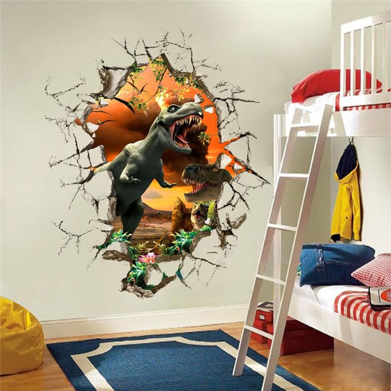 3d dinosaurs wall stickers jurassic park home decoration 1461. diy cartoon living room animals print decals mural art poster 4.0(China (Mainland))