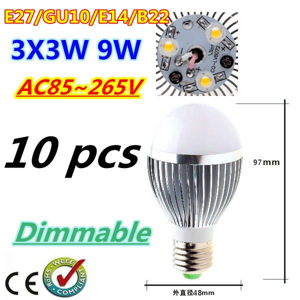 10pcs/lot Bubble Ball Bulb 3LED 9W E27 GU10 High power Ball steep light LED Light Bulbs Lamp Lighting tube Free shipping