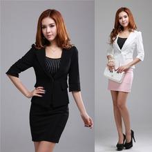 New 2014 Spring Summer Formal Office Uniform Design Women Business Suits Work Ladies Skirt Sets Elegant White Blazer Female