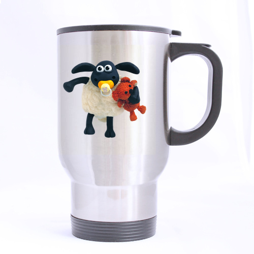 Cute The Sheep Baby and Doll Custom Made Design Travel Mug Sports Bottle Coffee Mugs Silver 14 OZ Office Home Cup Two Sides(China (Mainland))