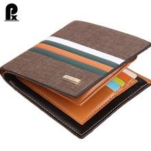 2016 designer genuine pu leather wallet men wallets luxury brand Brown Striped russia money clip men's leather wallet male purse