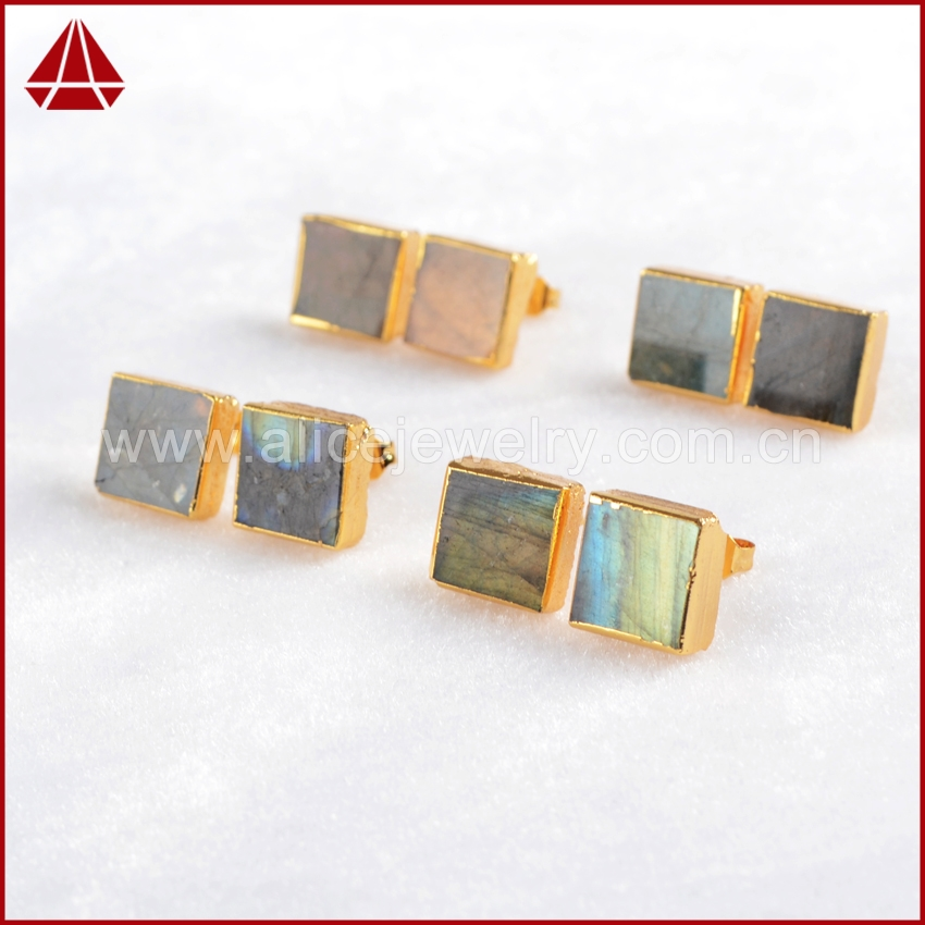 Exclusive Square Stud Earrings Natural Round Labradorite Women Stud Earrings 24K Gold Plated Quartz Druzy Jewelry G587<br><br>Aliexpress