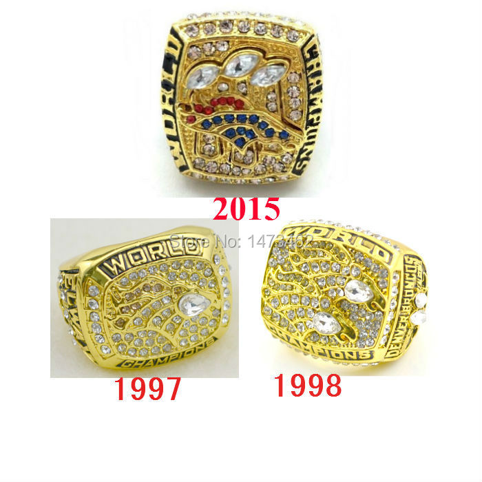 High quality 1997 1998 2015 Denver Broncos Super Bowl 50 Championship Rings 3pcs together solid as fans gift on sale(China (Mainland))