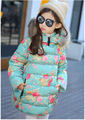 2016 New children winter clothing Baby Girls long Coats Thick Jacket Cotton Padded Printed Windproof