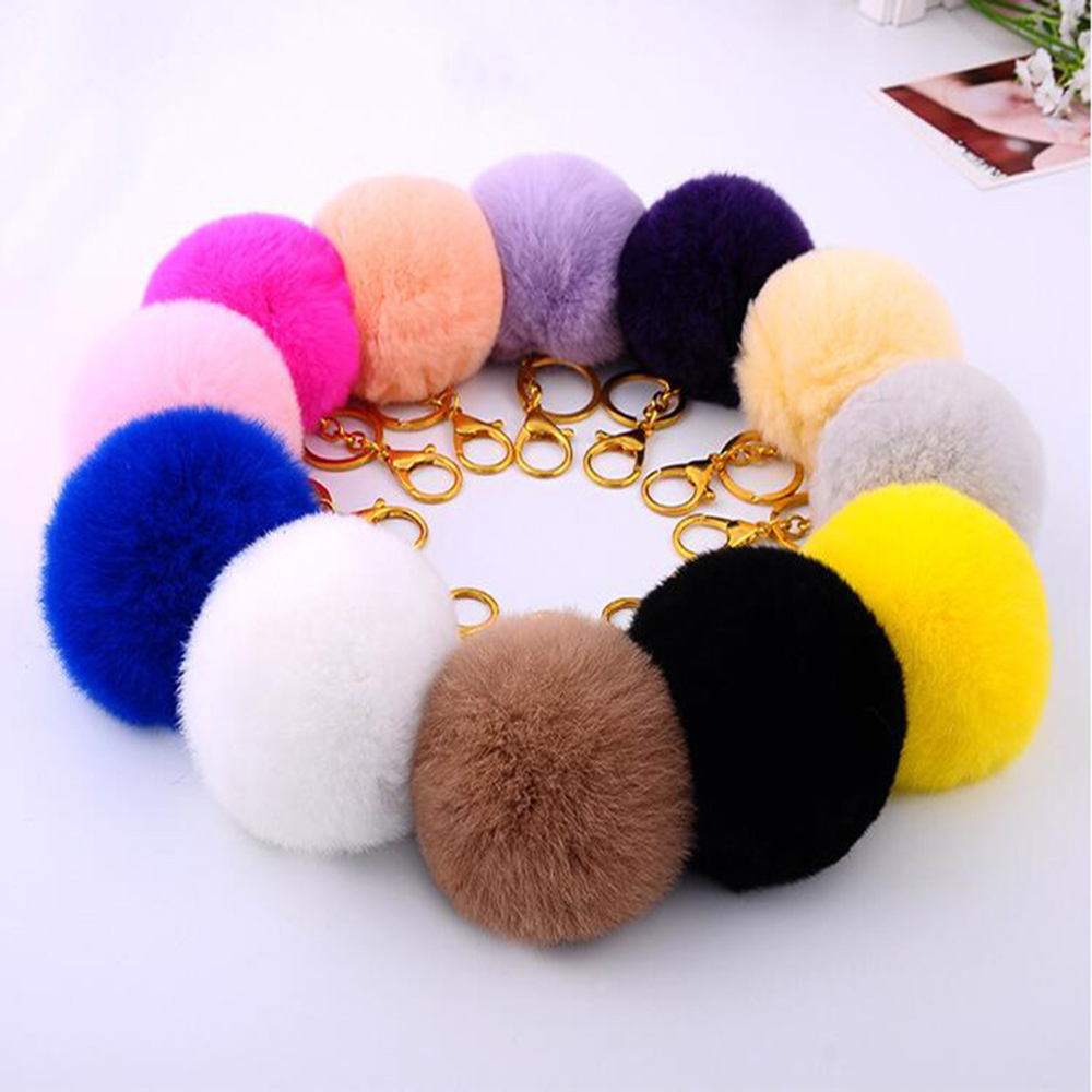 2016 8CM Faux Rabbit Fur Keychain Ball PomPom Cell Phone Car Keychains Pendant Gold Metal Buckle Charm Key Ring llaveros mujer(China (Mainland))