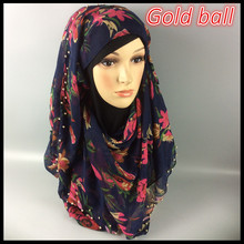 B3 gold ball flower design hijab, viscose scarf,lady shawl ,180*90cm ,10pcs 1lot ,can choose colors(China (Mainland))