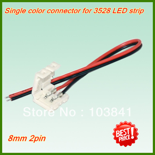 wholesale 3528 LED strip Connector with wire,NO welding 8mm 2pin Strip one Connector cable For Strip Jointing, Free Shipping!(China (Mainland))