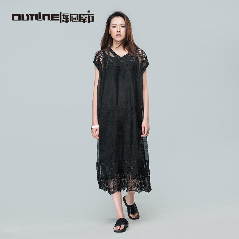 Outline Brand Women Cotton Lace Dress National Trend Black Cutout Crochet V-neck Dress Solid Women Loose Dress L162Y031(China (Mainland))