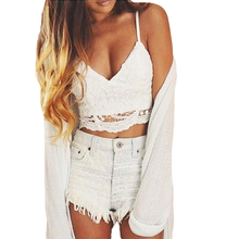 New Sexy Women Bustier Crop Top Crochet Lace Deep V Neck Spaghetti Strap Backless Camisole Bralette Crop Tops Black/White(China (Mainland))