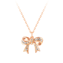 Bow Necklace Chunky Genuine SWA Elements Jewelry Real 18K Rose Gold Plated Austrian Crystal Necklaces PendantsNL0288-A
