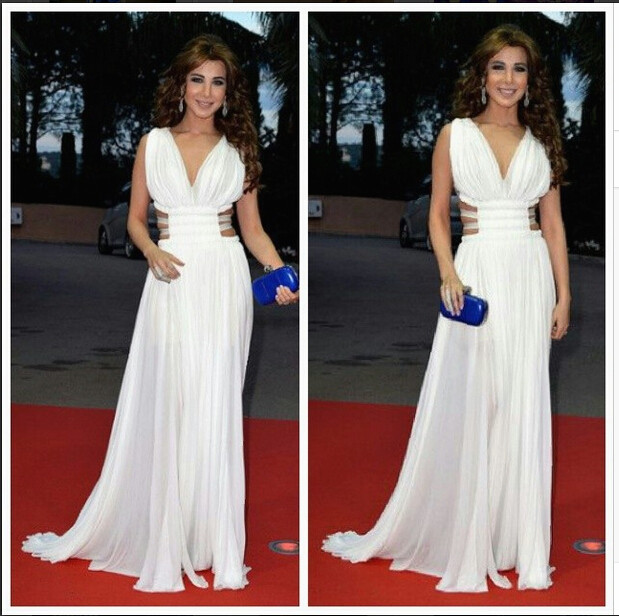 2016 Inspired by Nancy Ajram Arabic Dubai Muslim Celebrity Dresses A Line Chiffon Ruched Bodice Pleat Evening Prom Party Gowns(China (Mainland))