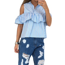 Elegant Sexy Ruffles Off Shoulder Top Women Blouse Shirts Summer 2016 Blue White Stripe Blusas Female Cool Blouses Casual(China (Mainland))