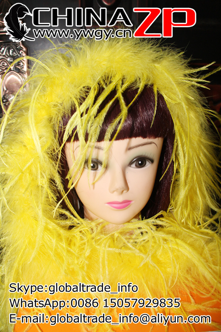 ZP CRAFTS FACTORY www.ywgy.cn Best Manufacturer Beautiful in Colors Sexy 2yards/lot 35g Dyed Yellow Ostrich Feather Boas(China (Mainland))