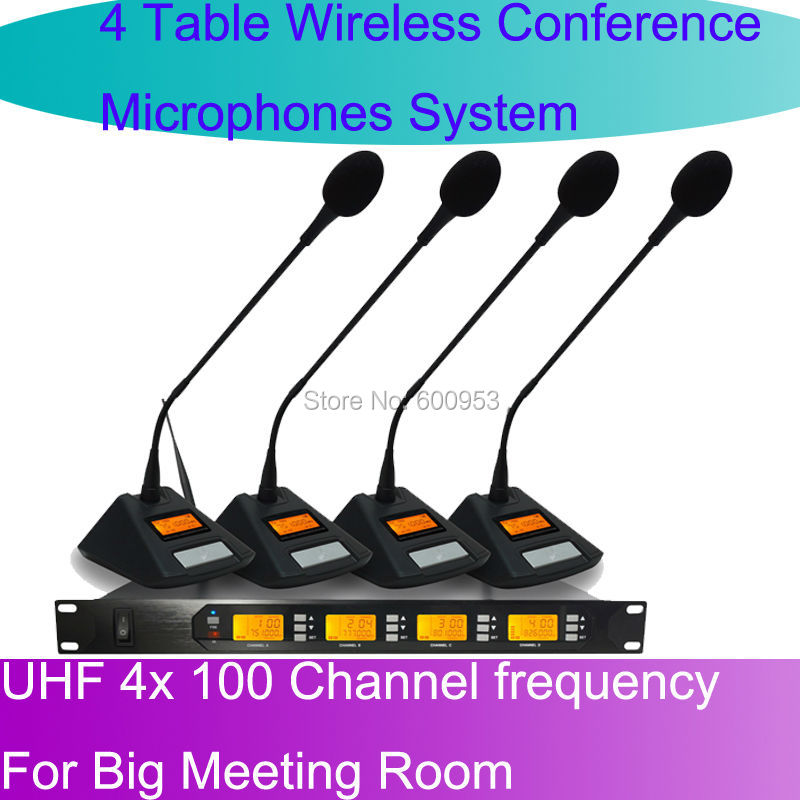 MICWL D400 UHF 4 Gooseneck Table UHF Wireless Conference Microphones digital System For Big Meeting Room(China (Mainland))