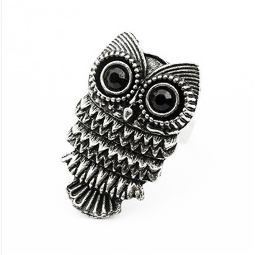 Free Shipping,NEW 2015 Vogue New Fashion Unique Adjustable Vintage Retro Nickel Silver Pewter Owl Ring(China (Mainland))