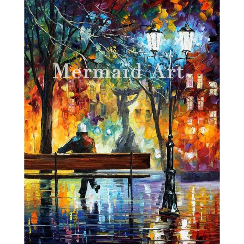 Buy Hand Painted Silhouettes Lovers Landscape Abstract Palette Knife Modern Oil Painting Canvas Wall Living Room Artwork Fine Art cheap