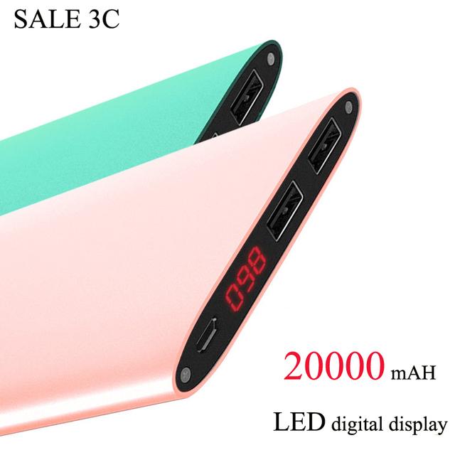 Продажа высокое качество 20000 мАч зарядное устройство Dual USB внешнее зарядное устройство универсальный Metal тонкие из светодиодов огни дисплей powerbank