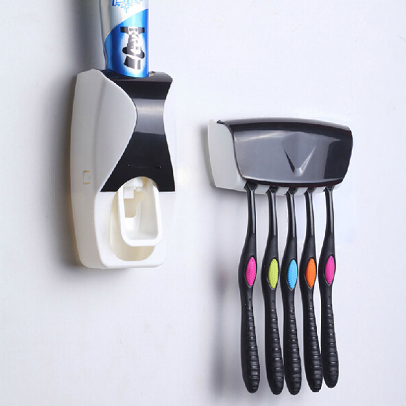 Automatic Toothpaste Dispenser + 5 Toothbrush Holder sets Wall Mount Stand family Holder bathroom household items JS0568(China (Mainland))