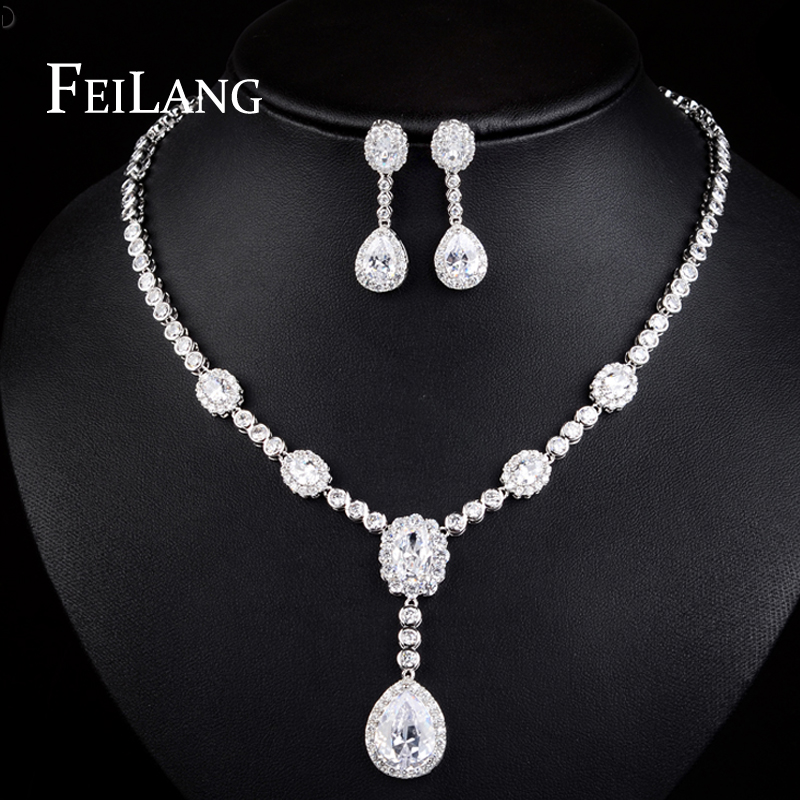 FEILANG Exquisite 925 Sterling Silver Platinum Plated Pure Swiss Zircon Necklace Earring Wedding Jewelry Set For Bride (FSSP104)<br><br>Aliexpress
